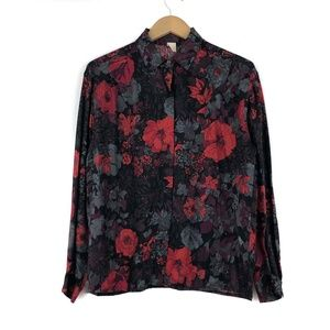 Vintage Black Red Roses Button Up Shirt / Medium